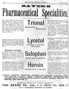 Advertisement for Bayer Company's (chemical and pharmaceutical company) drugs - Trional, Lycetol, Salophen and Heroin. Credit: Wellcome Collection https://wellcomecollection.org/works/urcbpct2