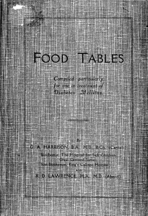 G. A. Harrison - Food Tables Complied particularly for use in treatment of Diabetes Mellitus.