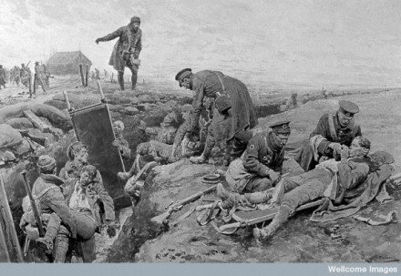WWI: drawing of Royal Army Medical Corps, by F. Matania