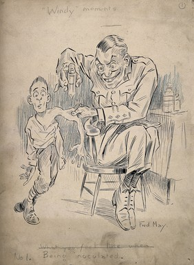 A large and evil looking army physician eagerly inoculates a fearful young man, pen and ink drawing by F. May