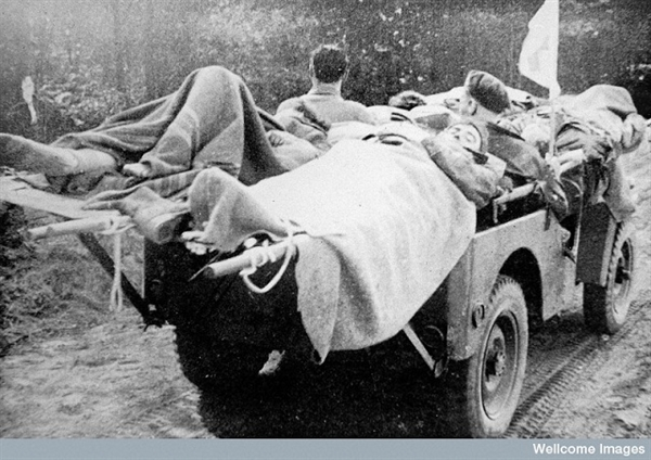 Casualty evacuation by jeep in 1944