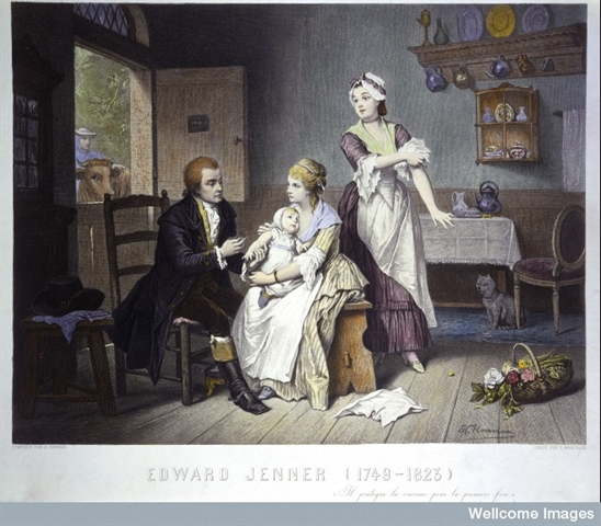 Edward Jenner, vaccinating his young child